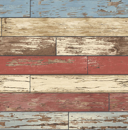A-Street Prints by Brewster 2701-22319 Reclaimed Scrap Wood Red Weathered Texture Wallpaper
