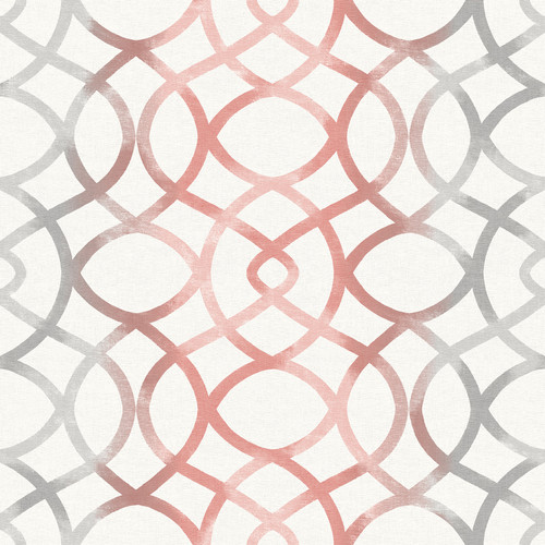 A-Street Prints by Brewster 2697-78031 Twister Coral Trellis Wallpaper