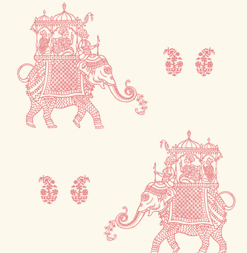 A-Street Prints by Brewster 1014-001836 Kismet Ophelia Pink Elephant Wallpaper