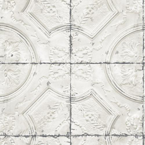 Chesapeake by Brewster 3115-12431 Deerfield Off-White Vintage Tin Tile Wallpaper