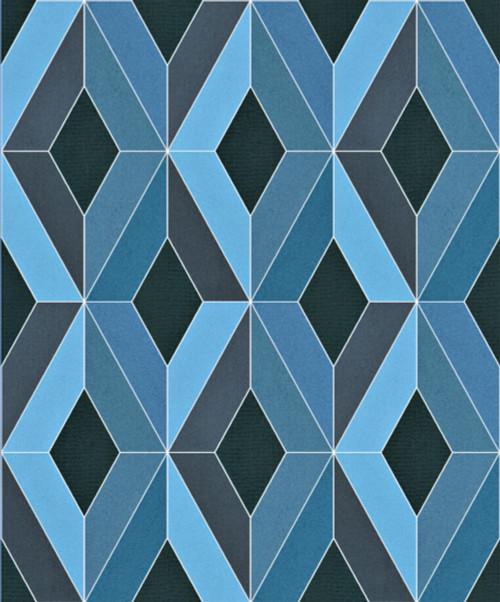 Grace & Gardenia  GYS60607 Quadrates Blue / Blue Wallpaper