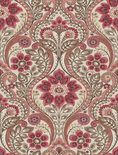 A−Street Prints by Brewster 2763-12106 Moonlight Night Bloom Coral Damask Wallpaper