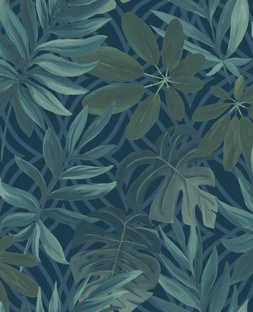A−Street Prints by Brewster 2763-24201 Moonlight Nocturnum Blue Leaf Wallpaper