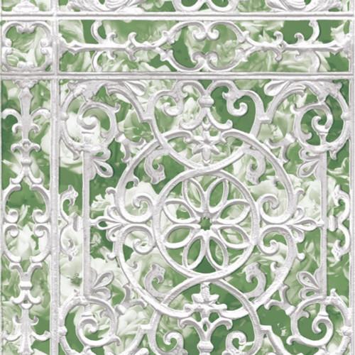 Grace & Gardenia G05C8001 White Painted Iron Garden Gate Wallpaper