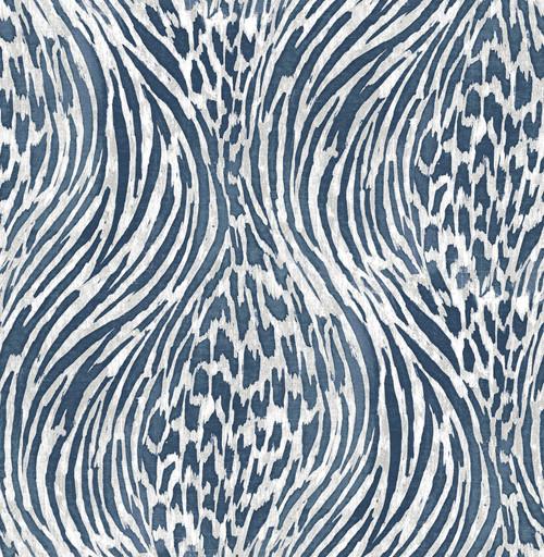 A−Street Prints by Brewster 2763-24205 Moonlight Splendid Blue Animal Print Wallpaper