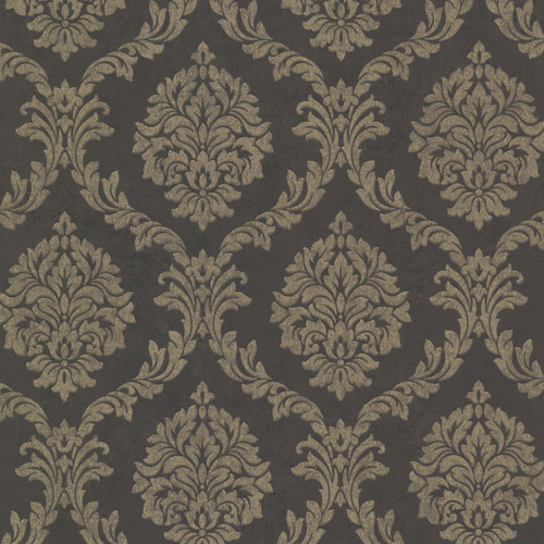 Beacon House by Brewster 495-69060 Tennyson Brown Shimmer Damask Wallpaper