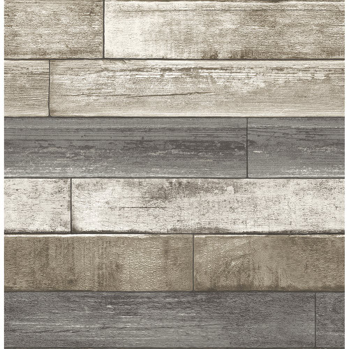 A-Street Prints by Brewster 2701-22345 Reclaimed Weathered Plank Grey Wood Texture Wallpaper