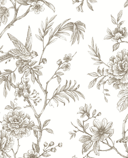 A−Street Prints by Brewster 2763-24236 Moonlight Jessamine Taupe Floral Trail Wallpaper