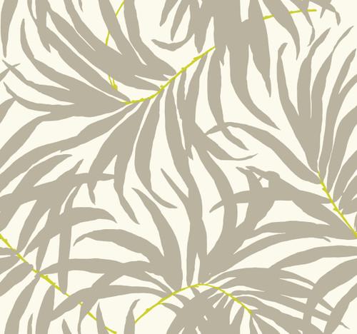 York AT7054 Tropics Bali Leaves Wallpaper off white, medium grey, bright yellow/green
