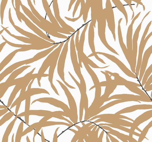 York AT7055 Tropics Bali Leaves Wallpaper off white, tan, darkest grey