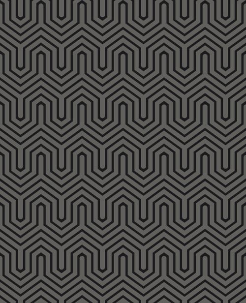 York Wallcoverings GE3716 Ashford Geometrics Labyrinth Wallpaper Black Pearl, Black