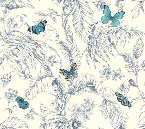 York Wallcoverings AF2026 Ashford Toiles Papillon Wallpaper Blue/White