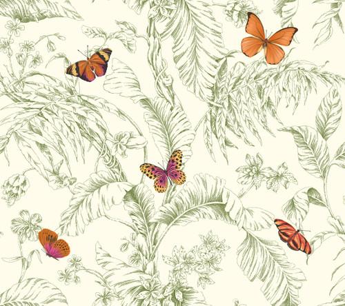 York Wallcoverings AF2027 Ashford Toiles Papillon Wallpaper Green/Orange