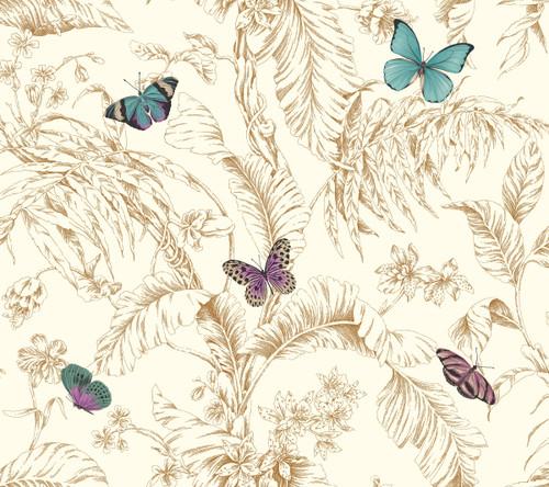 York Wallcoverings AF2028 Ashford Toiles Papillon Wallpaper Gold/Blue/Purple