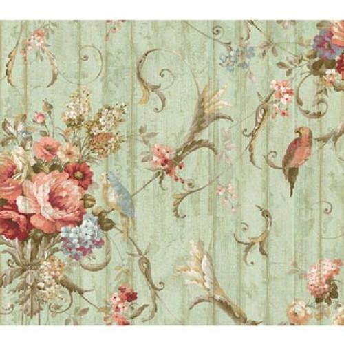 York Wallcovering Victorian Bird Floral Wallpaper HA1326 Parrots DOUBLE roll