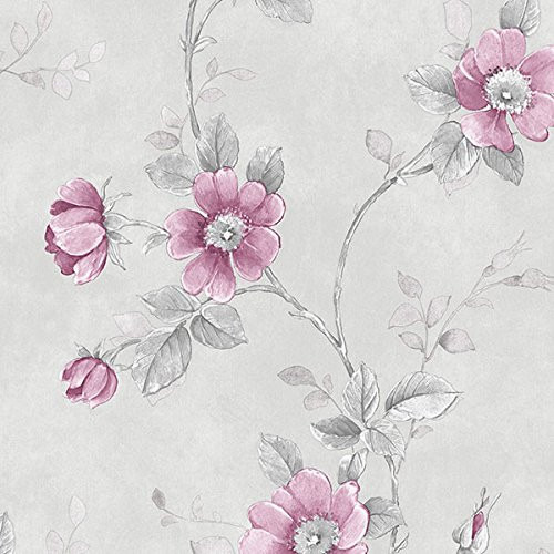 Norwall Rose Garden 2 RG35733 Poppy Wallpaper Pink, Grey