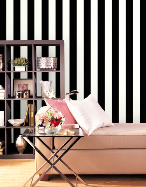 """5.25"""" Stripe Wallpaper in Pearl, Black, Ebony SY33937 by Norwall"""
