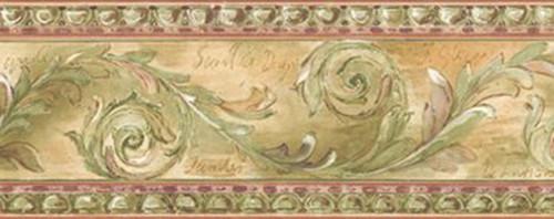 Chesapeake SR026102 Scroll Wallpaper Border, Green, Pink