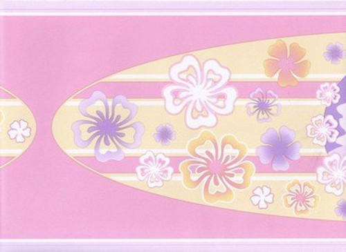 Norwall GU79216 Hawaiian Surf Board Wallpaper Border, Purple, Pink
