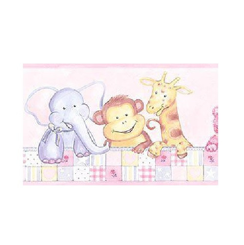 Patton CM79606 Animal Nursery Wallpaper Border, Pale Pink