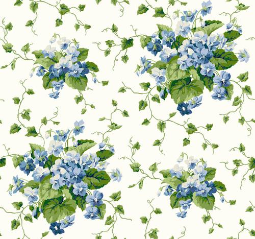 York Wallcoverings Waverly Cottage ER8103 Sweet Violets Wallpaper, White / Cream / Green / Blue
