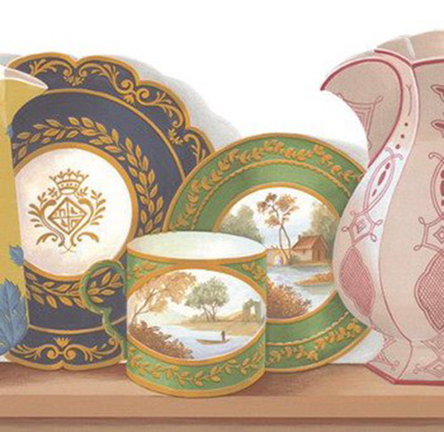 Waverly 5506000 Porcelain Van-De-Loire Wallpaper Border