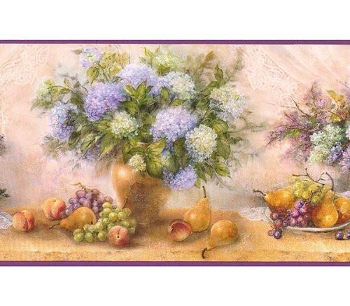Chesapeake DW30213 Fruits Bouquet Wallpaper Border, Purple, Golden