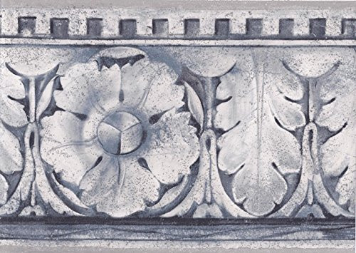 Norwall FT75815 Stone Block Leaf Molding Wallpaper Border, Grey, Blue