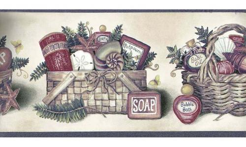 The Village Company 5803500 Lilac Bath and Soap Wallpaper Border, Blue