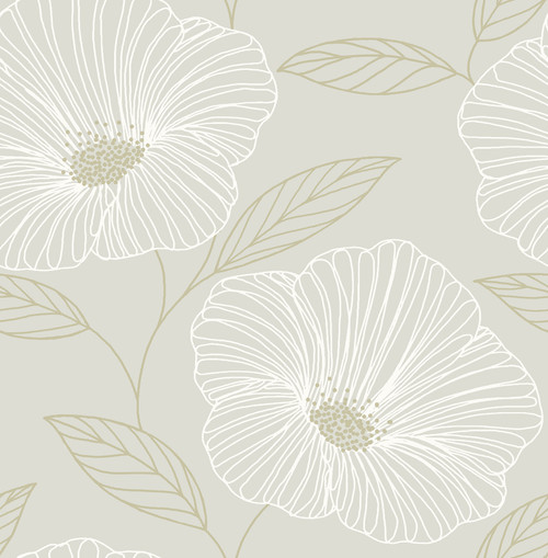 A-Street Prints by Brewster 2764-24320 Mistral Mythic Dove Floral Wallpaper