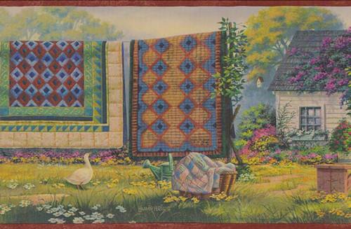 Chesapeake Peace and Plenty PC95012B Country Laundry Wallpaper Border, Rust & Blue