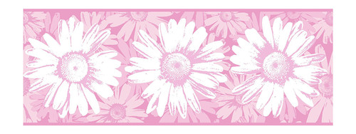 York Wallcoverings BT2730B Daisy Wallpaper Border, Pink White