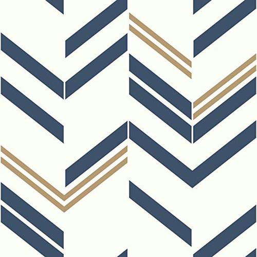 RoomMates RMK9002WP Chevron Blue Stripe Peel & Stick Wallpaper Blue