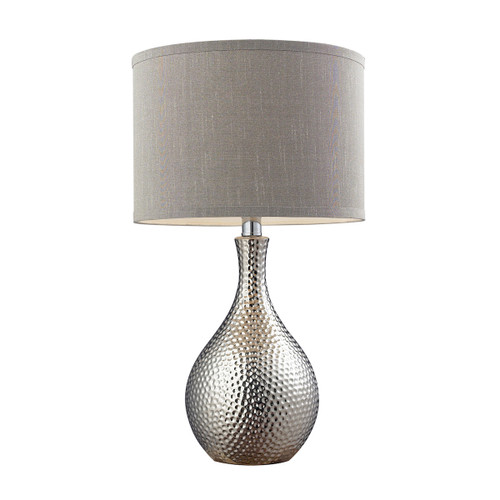 Dimond lighting D124 Hammered Chrome Plated Table Lamp Grey Faux Silk Shade