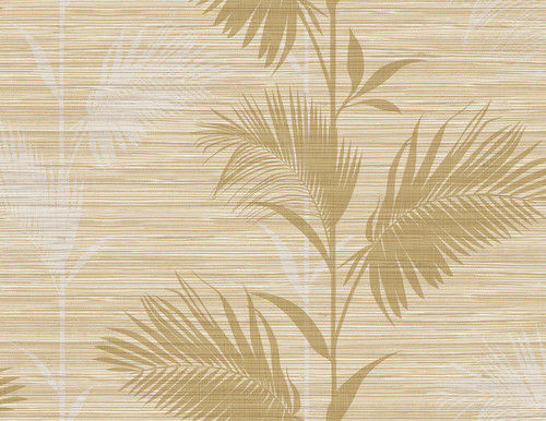 Kenneth James by Brewster PS40305 Palm Springs Away On Holiday Beige Palm Wallpaper