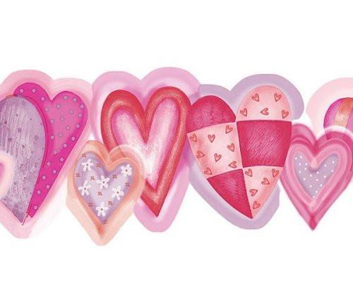 Chesapeake FP00631B All Hearts Wallpaper Border, Pink & Purple