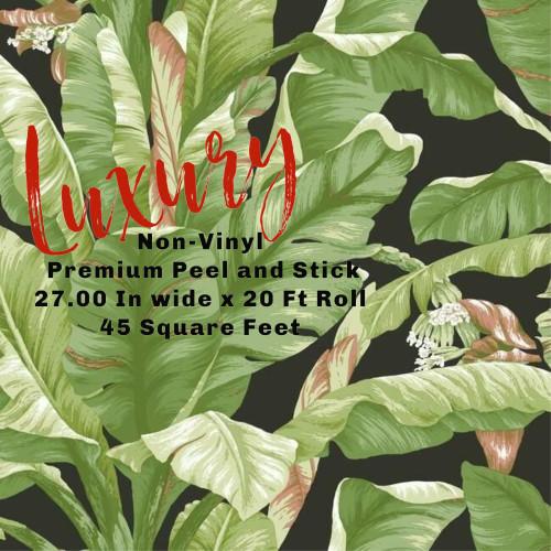Grace & Gardenia Tropical Banana Leaf on Black 27 in Peel and Stick wallpaper
