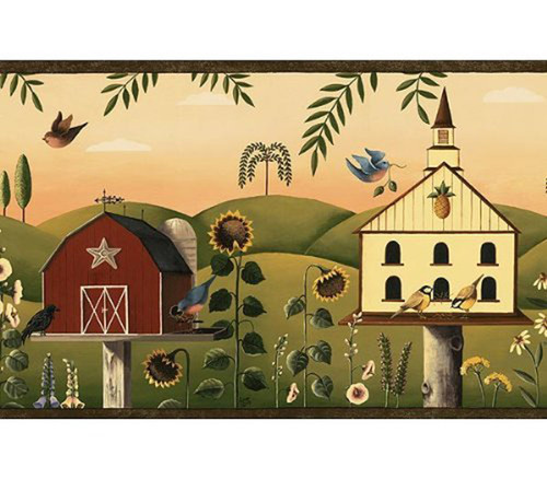Chesapeake Grace and Goodness GG54202B Country Birdhouse Wallpaper Border, Brown