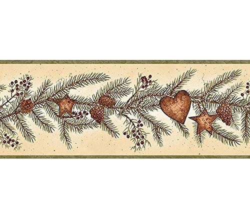 Chesapeake LL50021B Pine Branch Wallpaper Border, Beige