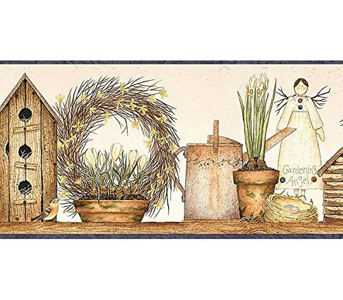 Chesapeake Family and Friends II FAM65051B Angel Garden Shelf Wallpaper Border, Brown