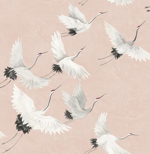 A-Street Prints by Brewster 2764-24305 Mistral Windsong Pink Crane Wallpaper