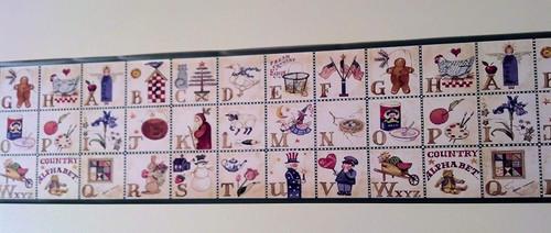 Rosedale ALB3874 Alphabet Country Wallpaper Border, Green Edge