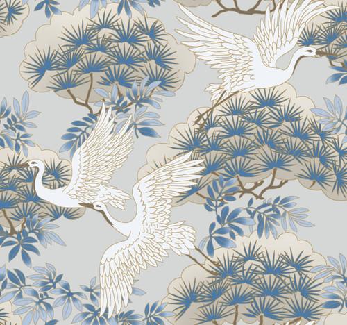 York Wallcoverings AF6591 Sprig & Heron Wallpaper Light Blue