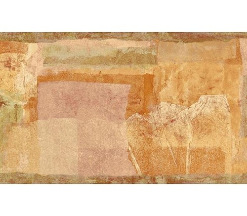 Chesapeake Open Spaces OS24561B Abstract Paper Collage Wallpaper Border, Orange