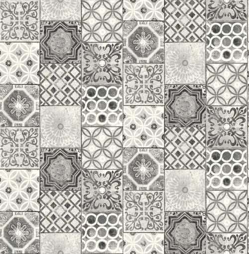 Grace & Gardenia Black and White Mosaic Tile Peel and Stick Wallpaper