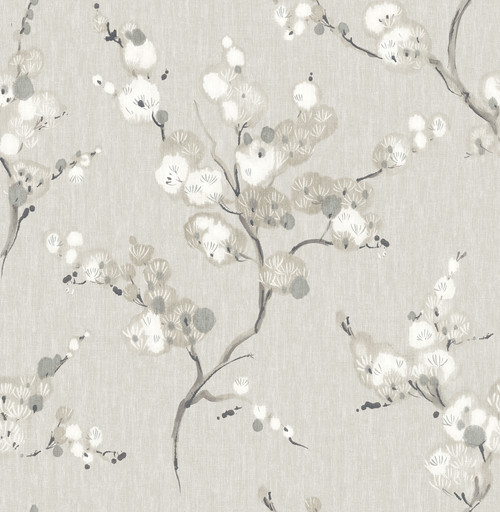A-Street Prints by Brewster 2764-24306 Mistral Bliss Taupe Blossom Wallpaper