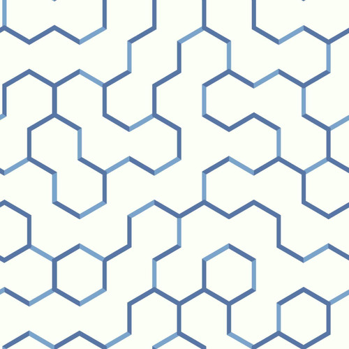 RoomMates RMK9093WP Open Geometric Blue Peel & Stick Wallpaper Blue