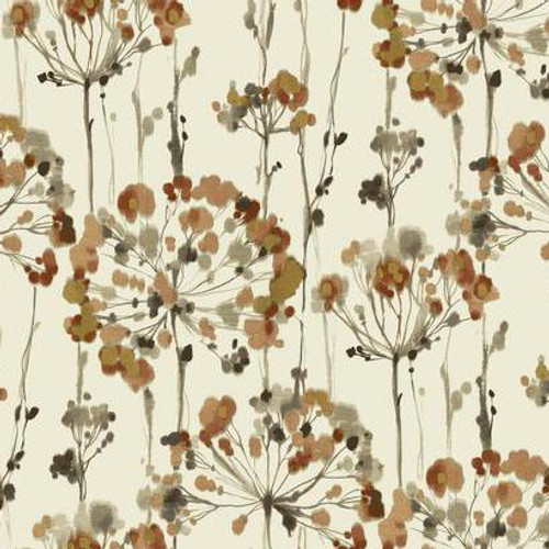 York Wallcoverings  CN2105 Candice Olson Modern Artisan Flourish Wallpaper cream, russet, taupe, brown, metallic gold