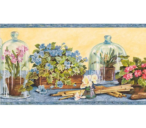 Rosedale CYB1546 Victorian Floral Cottage Wallpaper Border, Dusty Blue