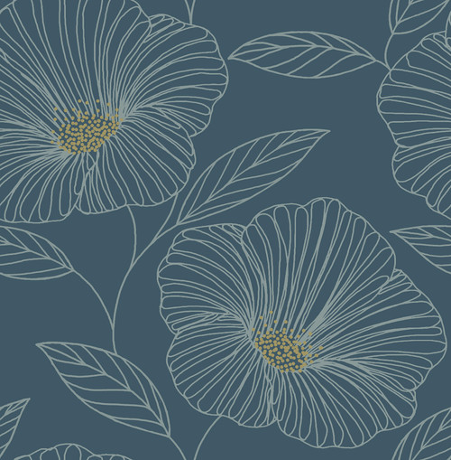 A-Street Prints by Brewster 2764-24318 Mistral Mythic Blue Floral Wallpaper